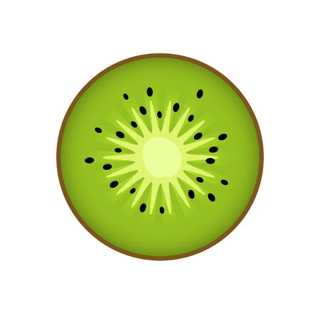 Kiwi slice. Kiwi, kiwi or Chinese gooseberry with half cross-section flat color icon isolated on white background for food applications and websites.