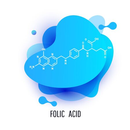 Folic acid structural formula. Futuristic trendy dynamic design elements with folic acid structural formula. Abstract liquid background.