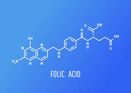 Vitamin B9. Folic acid Molecular chemical formula on blue background.