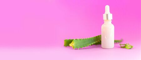 Glass bottle with aloe vera leaf cut into slices with dropper on a purple background