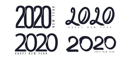 Happy New Year 2020 logo text design. Creative flat lay text inscription. Brochure design template, poster, postcard, banner. Vector illustration Isolated on white background.