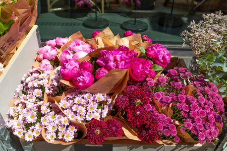 Flowers composition. Beautiful bouquets of flowers on the market.