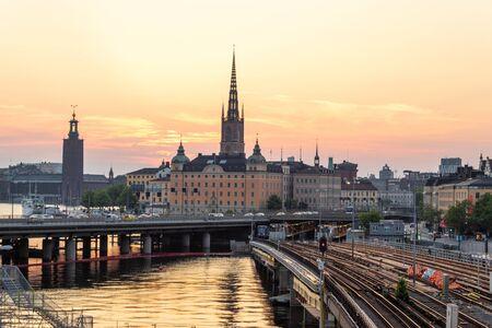 Stockholm, Sweden June 7 2019: View of the historical center of Stockholm witn main places of interest Stok Fotoğraf
