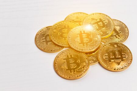 Bitcoin gold coin. Cryptocurrency concept. Virtual currency background