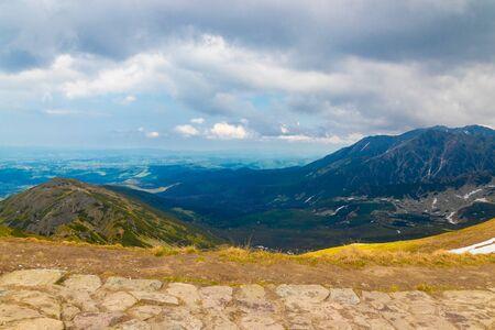 Travel and tourism concept. Beautiful view of Zakopane Tatra Mountains Kasprowy Wierch in the summer. Banco de Imagens