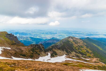 Panorama on the top of a Kasprowy Wierch mount in Tatry, Poland. Banco de Imagens