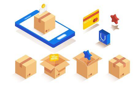 Isometrische Verpackungspapierboxen zum Verpacken von Waren. Paketzustellungsphasen festgelegt. Vektorgrafik