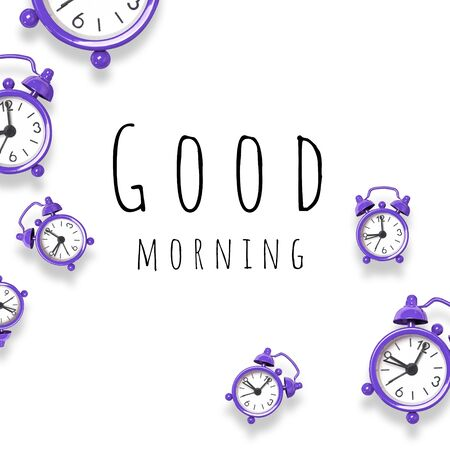 Breakfast wake up concept with alarm clock on grey background with copy space in minimal style, template for text