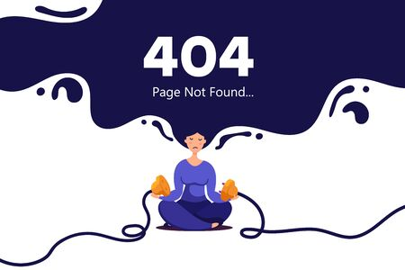 Creative concept illustration of the loss of internet connection on a site. A young girl with soaring hair in the air unplugged electric plug and socket from the network. Illustration of creativity 404 page not found error.