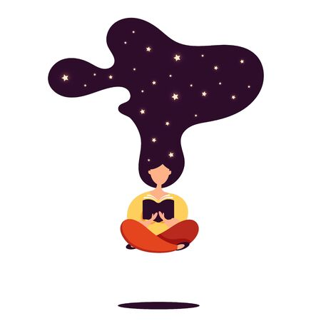 Young girl meditates in the lotus pose and read interesting book. Womens day. Flat style vector design. Concept illustration of e-learning, distance studying and self education. Illusztráció