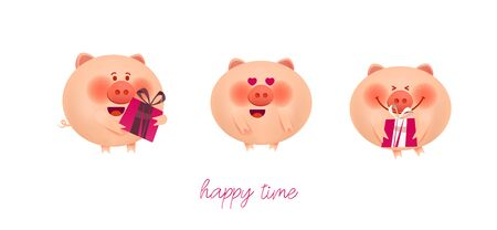 Greeting illustrations of cute pink pigs are smiling and holding gifts for the holiday. 스톡 콘텐츠 - 129786052