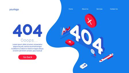 Design template for web page with error 404. Isometric numbers 404 with diagram, familiar errors and pen on a blue background. Ilustração