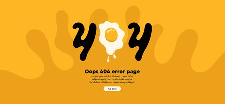 404 error with fried egg on yellow background. 404 error page not found Ilustração