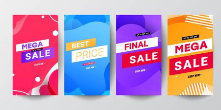 Set of stories sale banner background.Can use for, website, mobile app, poster, flyer, coupon, gift card, smartphone template, web design Ilustração