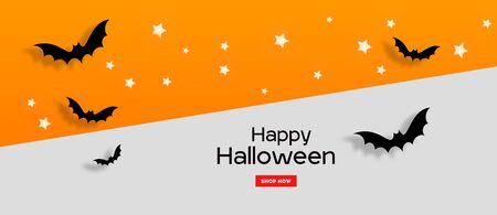 Happy Halloween party invitation or sale banners background with paper bats on an orange and grey background Stock Photo