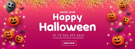 Happy halloween sale banner with scary orange pumpkin face, gold coins, balloons and golden glitter elements on pink red background. Template for greeting card, brochure or poster.