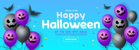 Happy Halloween banner with scary face balloons, gold coins, bats and gold glitter elements on a blue background. Website spooky or banner template.