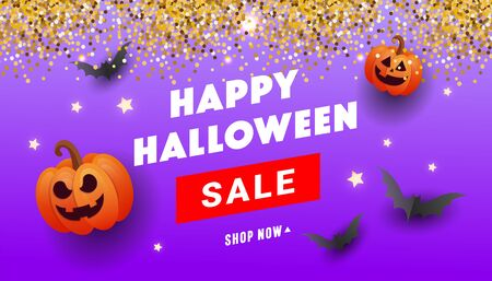 Happy Halloween sale banner with bat, ghost balls, gold glitter serpentine on a lilac background. Template for greeting card, brochure or poster.