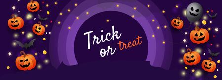 Happy Halloween trick or treat website banner with scary face orange pumpkins, gold coins, stars and gold glitter elements on a lilac background. Template for greeting card, brochure or poster.