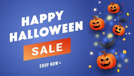 Happy Halloween sale banner c bat, ghost balls, gold glitter serpentine on a lilac background. Template for greeting card, brochure or poster.