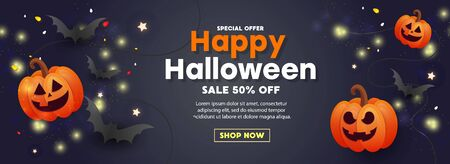 Happy Halloween sale poster with scary face orange pumpkins, balloons, bats and gold glitter decors on dark background. Template for greeting card, brochure or poster.