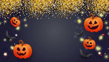 Happy Halloween sale banner with scary face orange pumpkins, balloons, bats and gold glitter decors on dark background. Template for greeting card, brochure or poster. Illustration