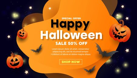Happy Halloween greeting sale banner with bats, pumpkins, text on an orange black background. Can be used for banner, poster, voucher, offer, coupon, holiday sale.
