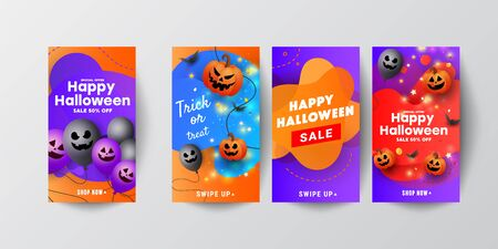 Halloween sale template story banners with scary face pumpkins, bats and a ghostly balloon on orange purple background. Can be used for banner, poster, voucher, offer, coupon, holiday sale.