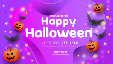 Modern happy halloween sale promotion banner with scary faces pumpkins, bats on an orange blue background. Halloween website sale banner, poster or card template.