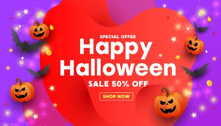 Halloween template set of banners with pumpkins, bats and glitter stars on purple background. Red liquid shape frame. Can be used for banner, poster, voucher, offer, coupon, holiday sale.