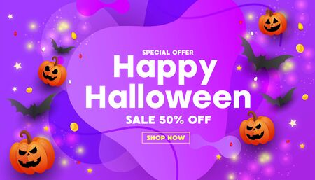 Happy Halloween sale banner or party invitation background with bats, pumpkins on purple background. Can be used for banner, poster, voucher, offer, coupon, holiday sale.
