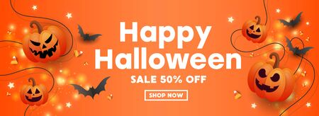 Happy Halloween sale banner with pumpkins, stars, striped candy and bats on orange background for leaflets, brochures, invitations, posters or banners.