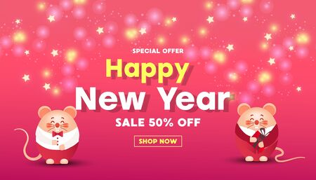Happy New Year sale banner with cute rats or mice, gold glitter confetti and gifts on a red background. Greeting card, poster or web banner.