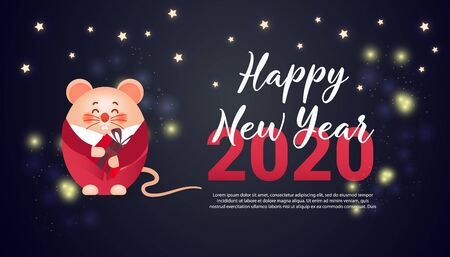 Happy Chinese New Year 2020 year of the rat. Cute rat hold surprise gifts on dark background.
