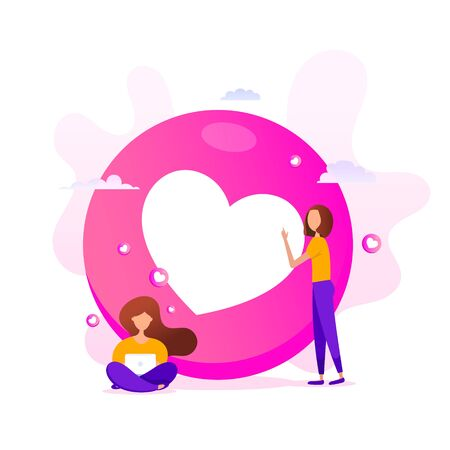 Creative illustration of love emoticons shape with little girls using a computer on a pink background. Happy birthday, greeting card, banner and poster.
