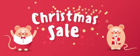 Merry Christmas sale banner with cute rats or mice, gold glitter confetti and gifts on a red background. Greeting card, poster or web banner.