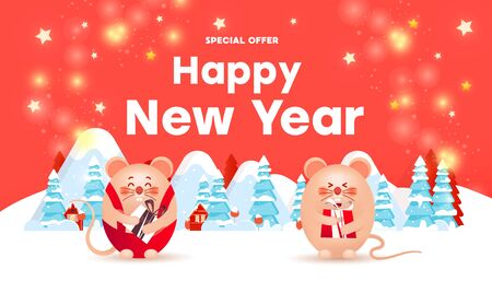 Happy New Year sale banner with cute rats or mice, gold glitter confetti, snow and forest on a red background. Greeting card, poster or web banner. Illustration