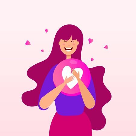 Young girl with emotion heart shape balloon on a pink background. Happy heart concept. Happy Valentines Day greeting card Stock Vector - 130912514
