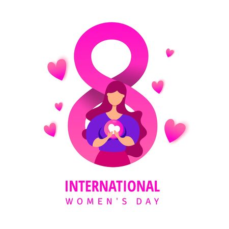 Mothers day concept with a young girl holding a love heart shape on a pink background. 8 number in paper flat style.