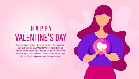 Happy Valentines Day greeting card with a young woman holding a heart shape in her hands. Creative love concept illustration Illustration