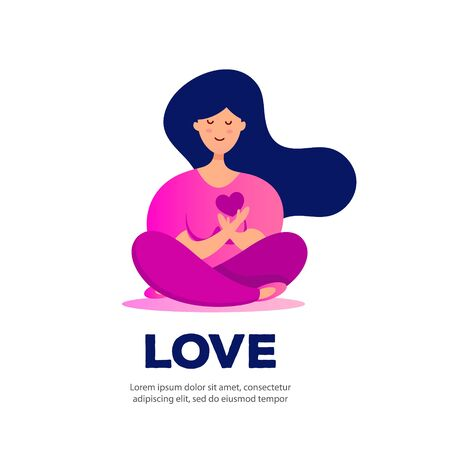 Young woman sits in lotus position and holds a love heart. Happy birthday, greeting card, banner and poster. Illustration