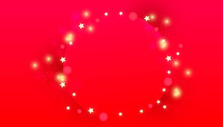 Christmas circle frame with glitter decor lights, bright golden stars on a red background. New Year or Christmas decorative sale banner.
