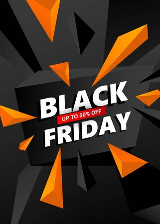 Creative Black Friday sale inscription design template. Black Friday banner with triangles design elements for poster, banners, flyers, card. Illustration