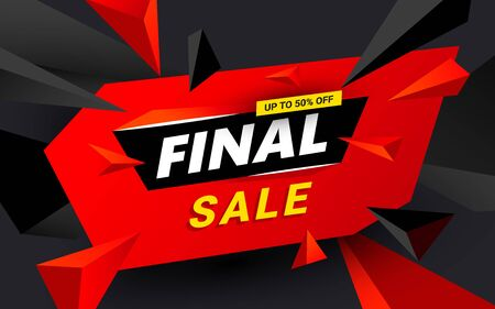Creative Final sale inscription design template. Black Friday banner with red triangles design elements for shops, web.