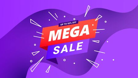 Mega sale design special offer vector banner with liquid gradient waves on a lilac gradient background for Christmas poster, banners, flyers, card. Illustration