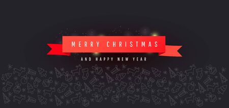 Christmas and New year banner with red ribbon, christmas line ornament on dark background for horizontal poster, greeting cards, headers, website Иллюстрация