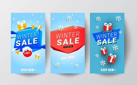 Merry Christmas and New Year editable story template collection set with red gifts and snows. Stok Fotoğraf - 131958050