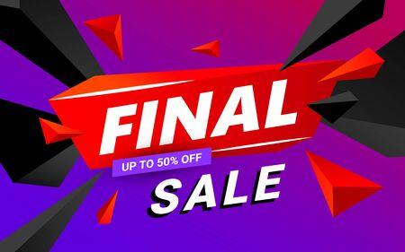 Final sale banner design editable template. Big sale, special offer, discounts. Vector illustration.