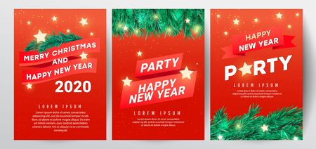 Winter sale vector poster or banner set with discount text and Christmas tree branches, stars on a red background for poster, greeting cards, headers, website Banco de Imagens - 132241579