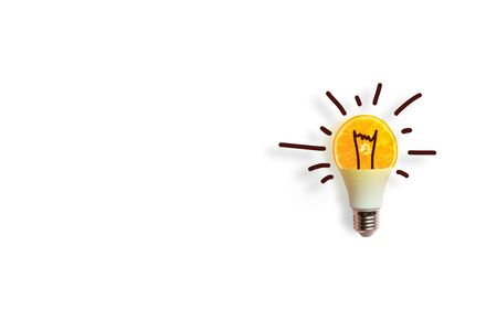 Energy conservation or idea concept. Creative conceptof a luminous energy-saving light bulb on white background.